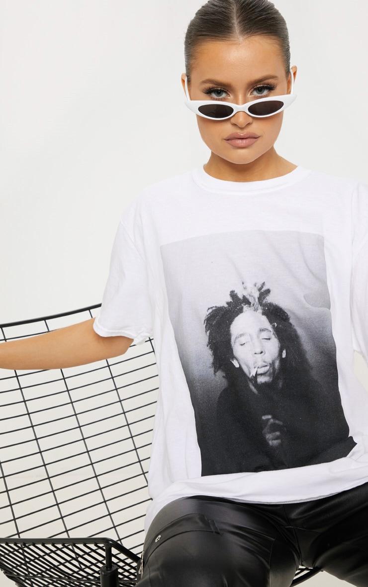 Bob Marley White Printed Oversized T Shirt 2