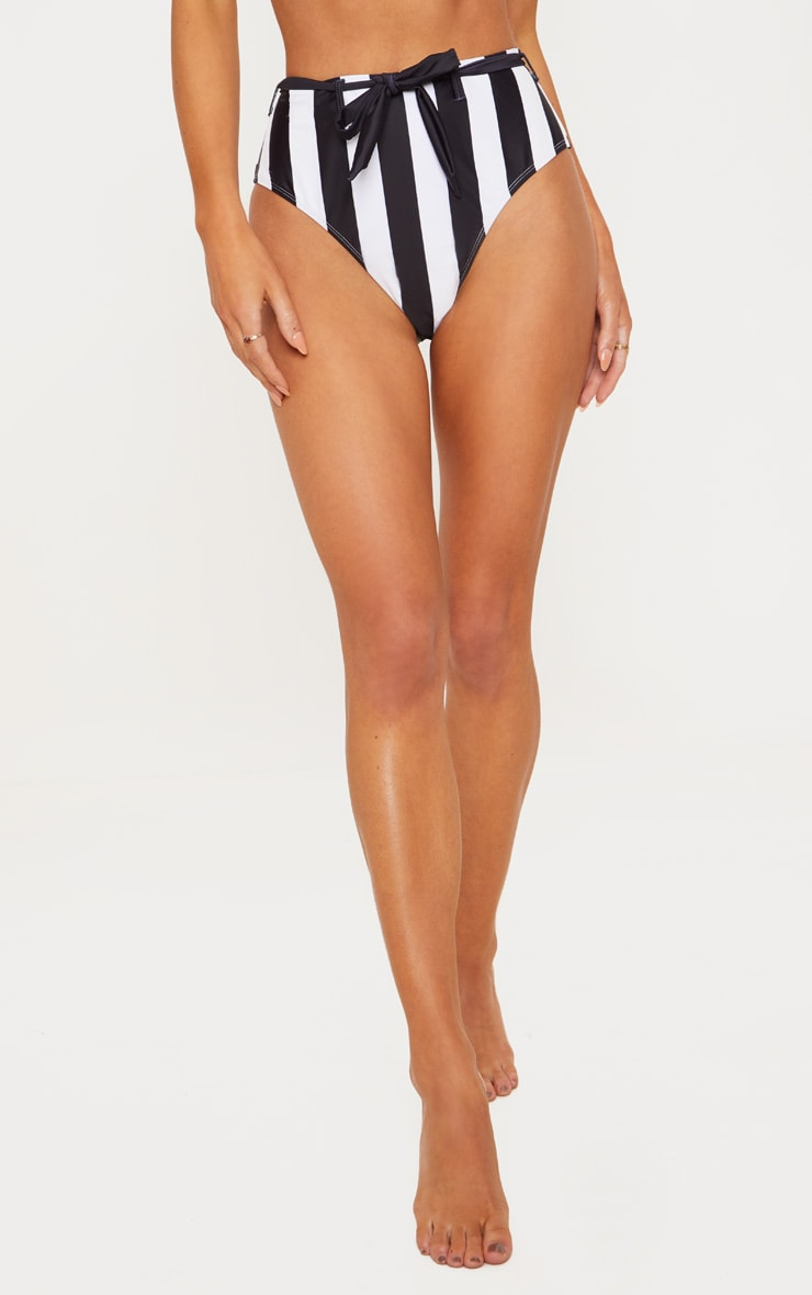 Black & White Stripe Belted Waist Bikini Bottom 2