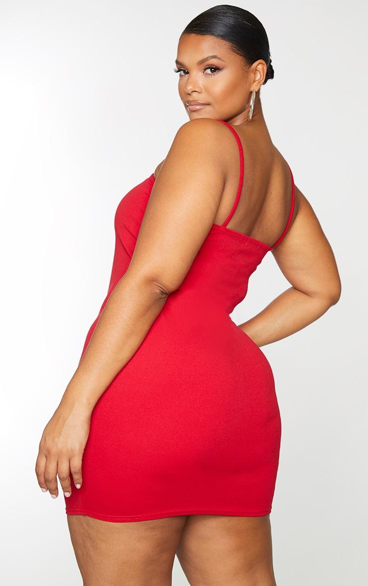 Plus Red Straight Neck Bodycon Dress 3