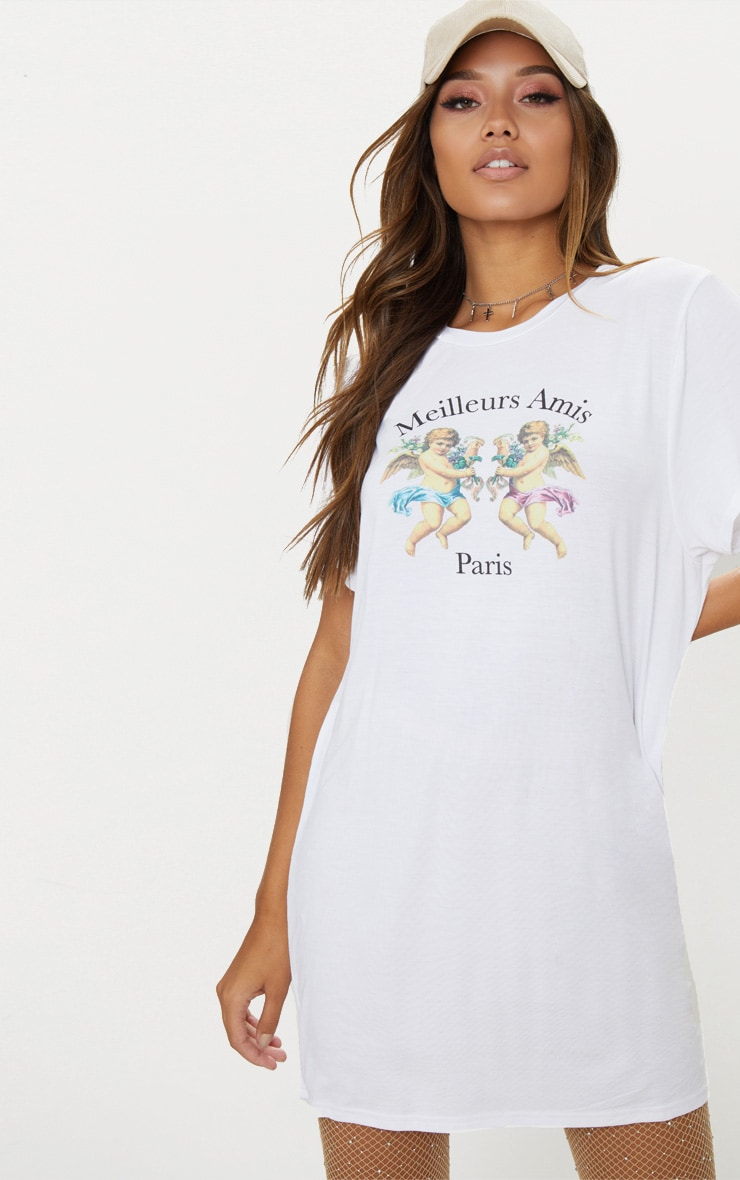 White Paris Cherub Print T Shirt Dress 3