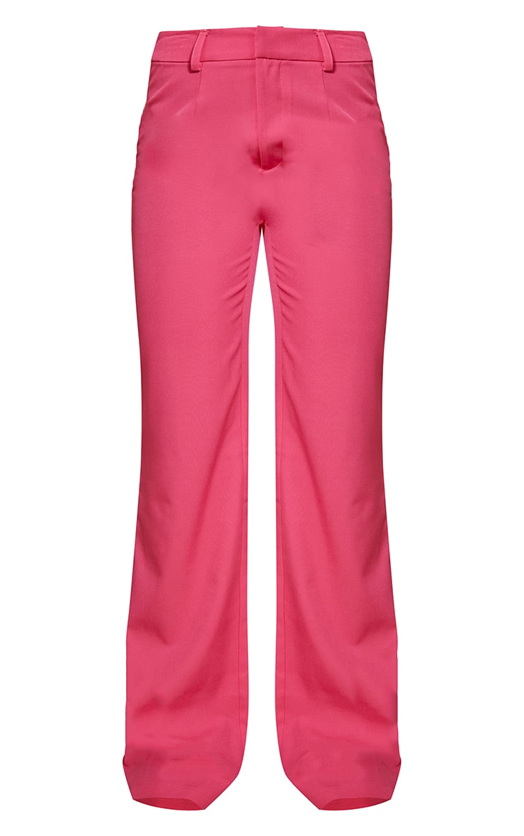 Hot Pink Woven Zip Front Straight Leg Trousers 5