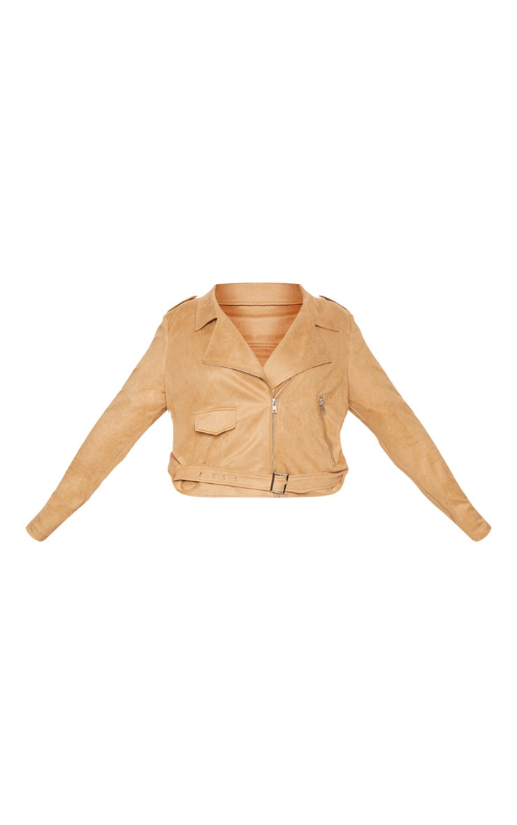 Plus Tan Faux Suede Biker Jacket 3