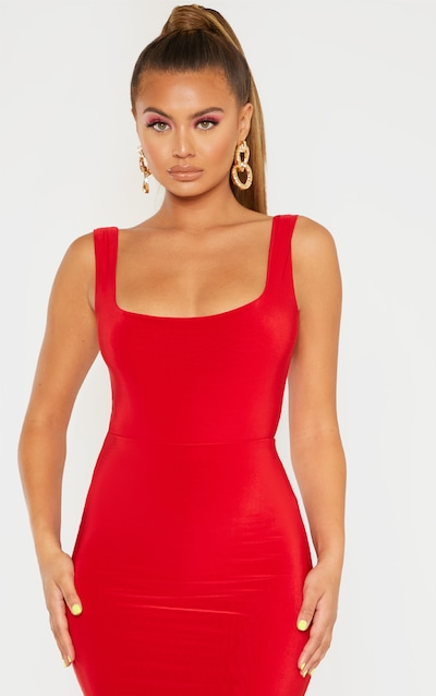 Red Mix & Match Second Skin Square Neck Sleeveless Thong Bodysuit
