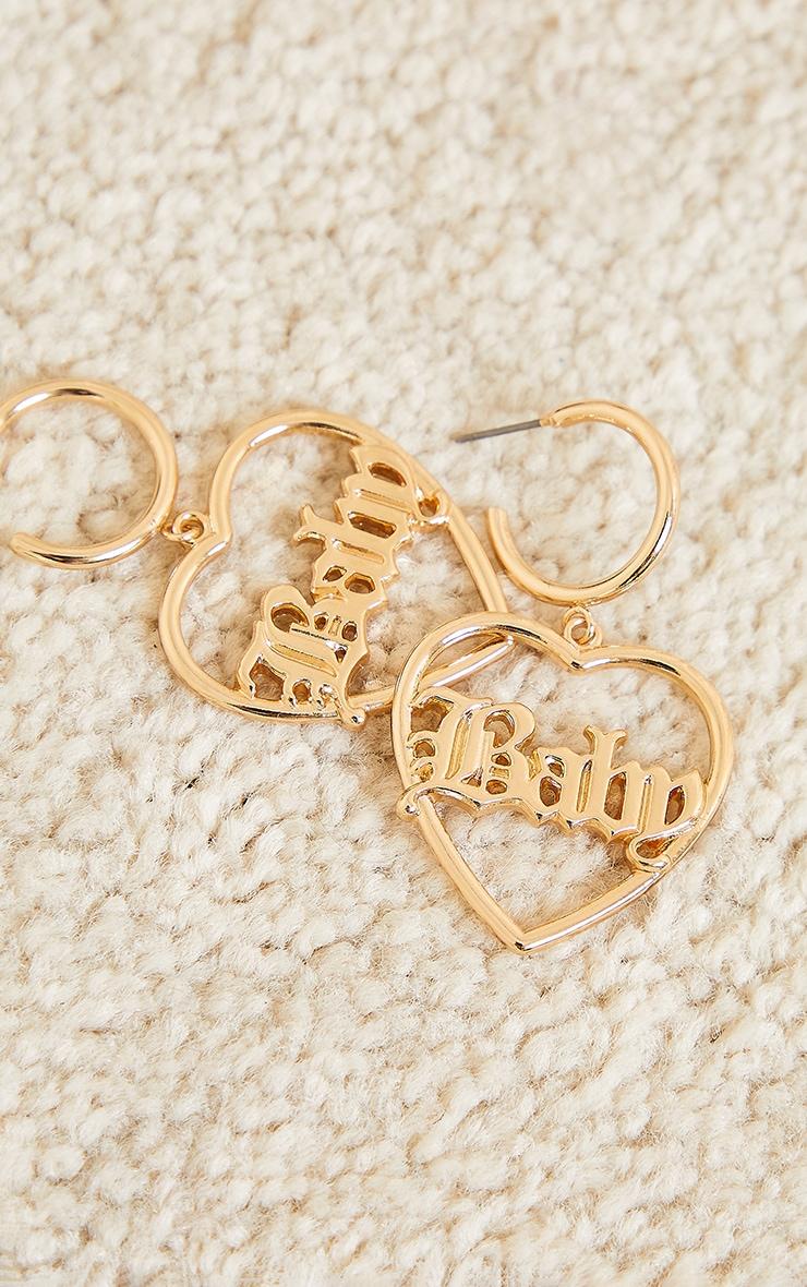 Gold Baby Heart Statement Earrings 3