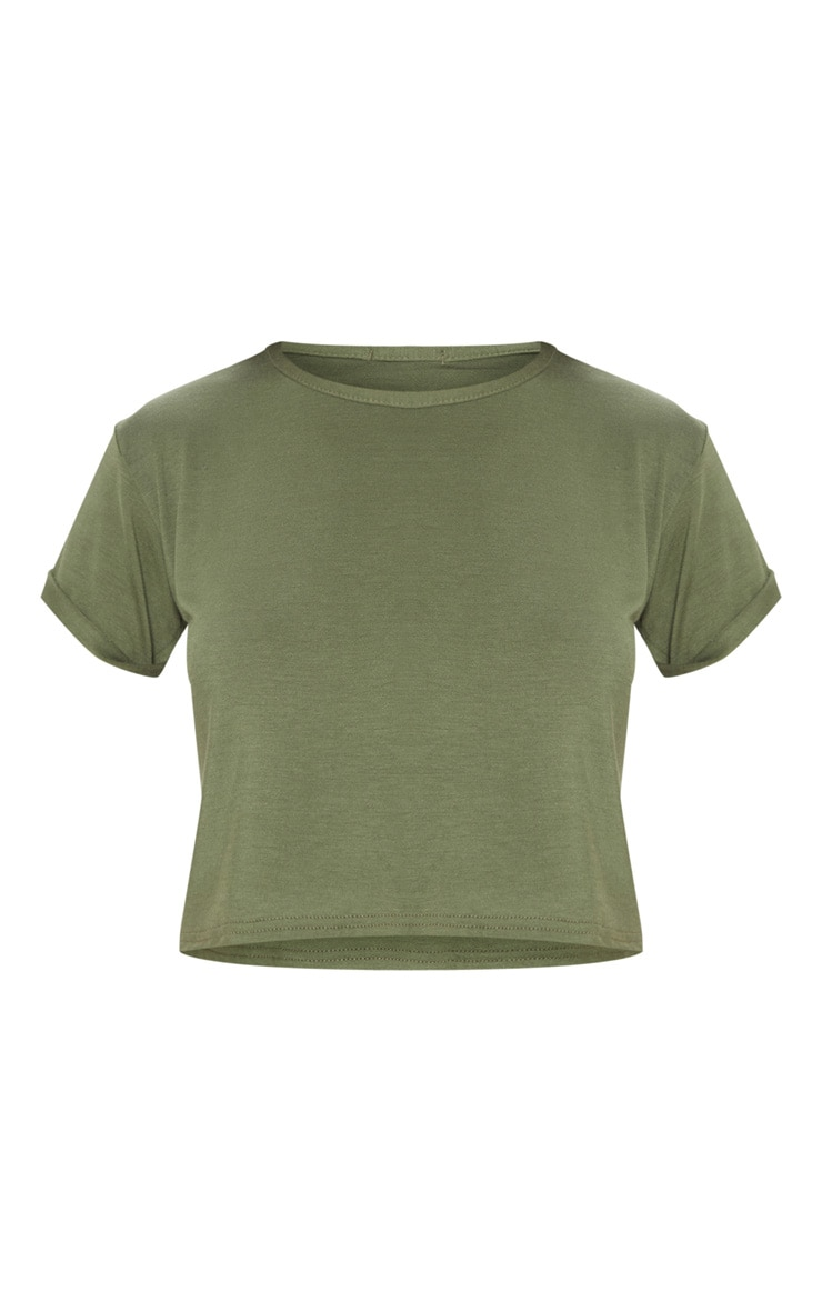 Basic Khaki Roll Sleeve Crop T Shirt 3