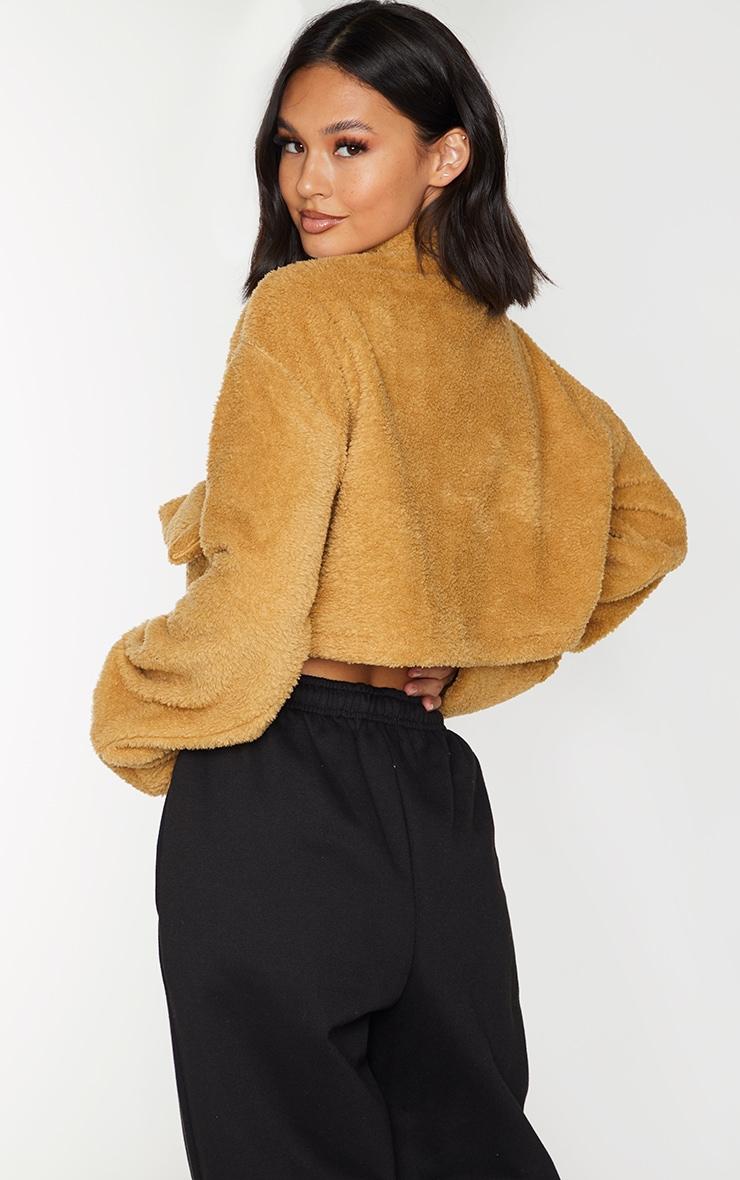 Camel Borg Cropped Zip Sweatshirt 2