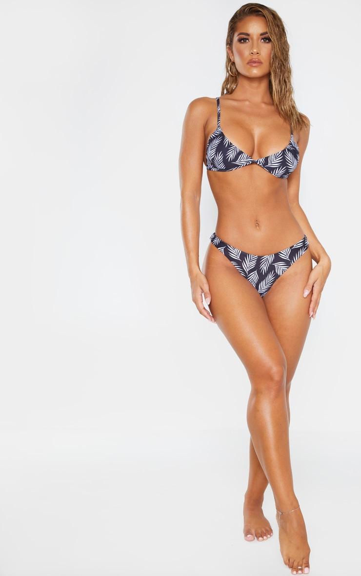 Black/White Leaf Textured Stripe Bikini Bottom 5