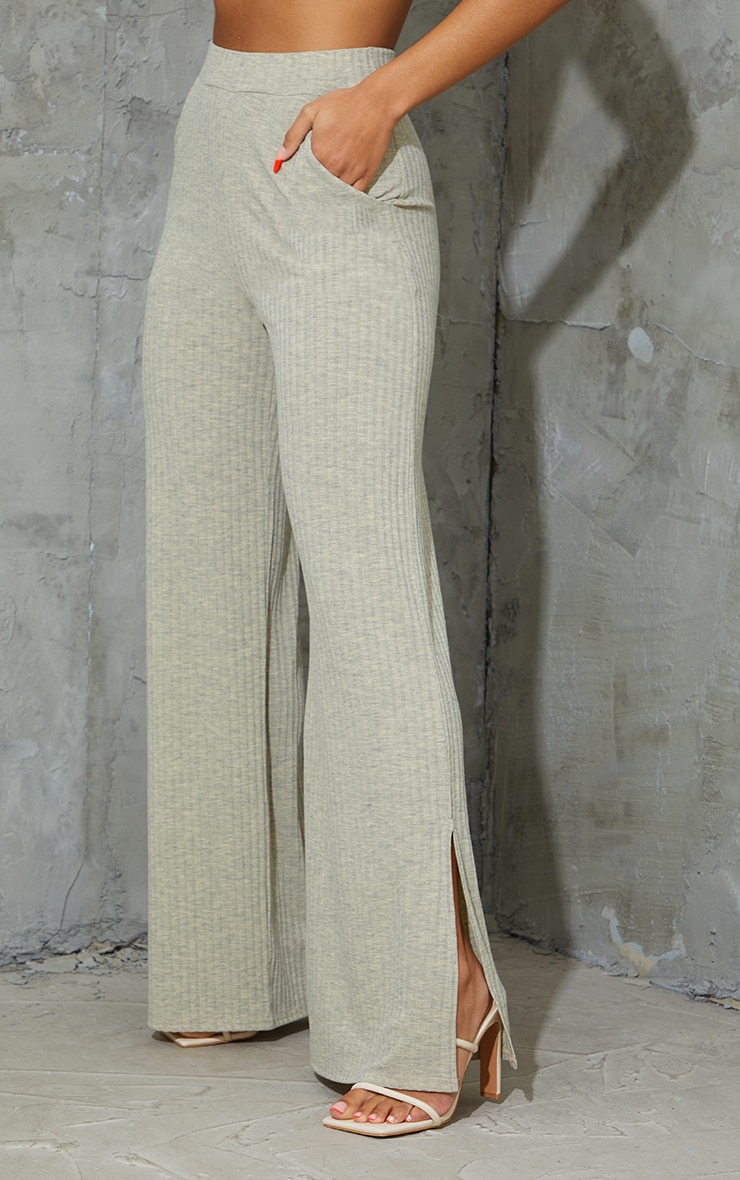 Oatmeal Marl Ribbed Split Hem Wide Leg Pants 2
