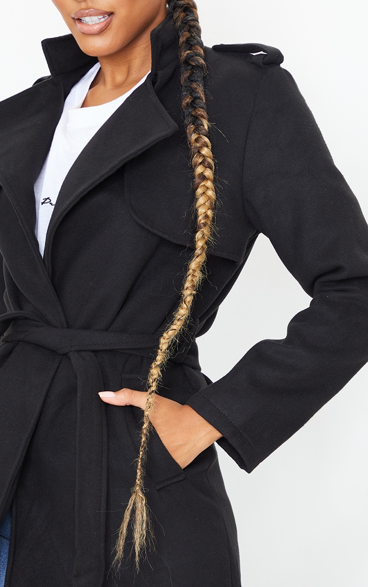 Black Wool Miltary Belted Midi Coat 4