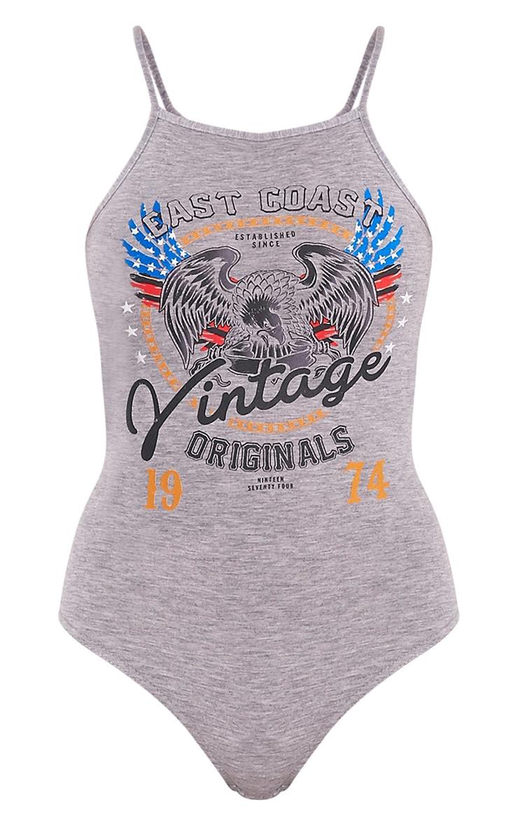 Vintage Slogan Grey Racer Thong Bodysuit 3