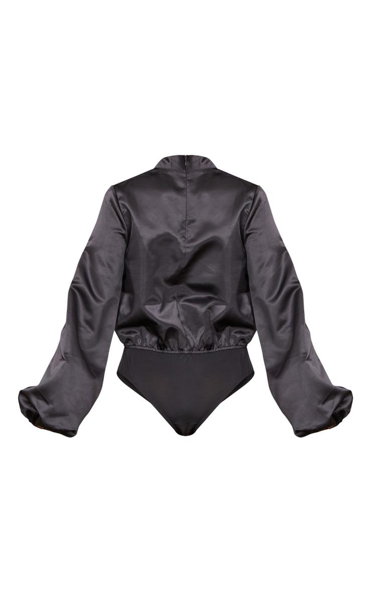 Black High Neck Woven Puff Sleeve Bodysuit 6