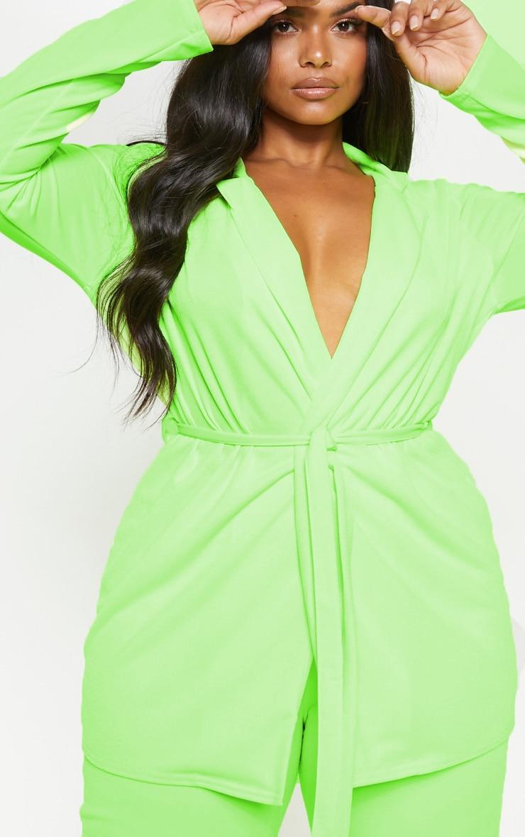 Plus Neon Lime Belt Detail Blazer  5
