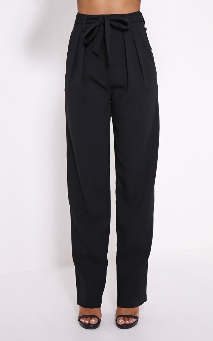 Elizabeth Black Wide Leg Crepe Trousers 2