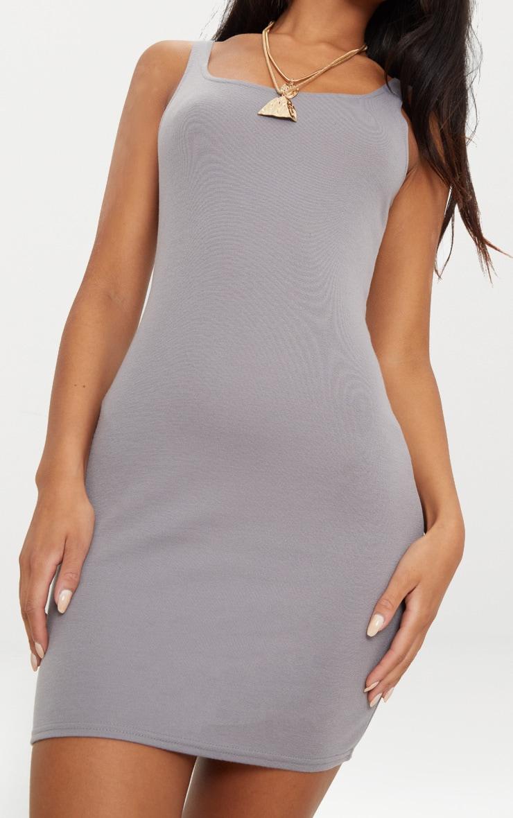 Charcoal Grey Scoop Neck Bodycon Dress 4