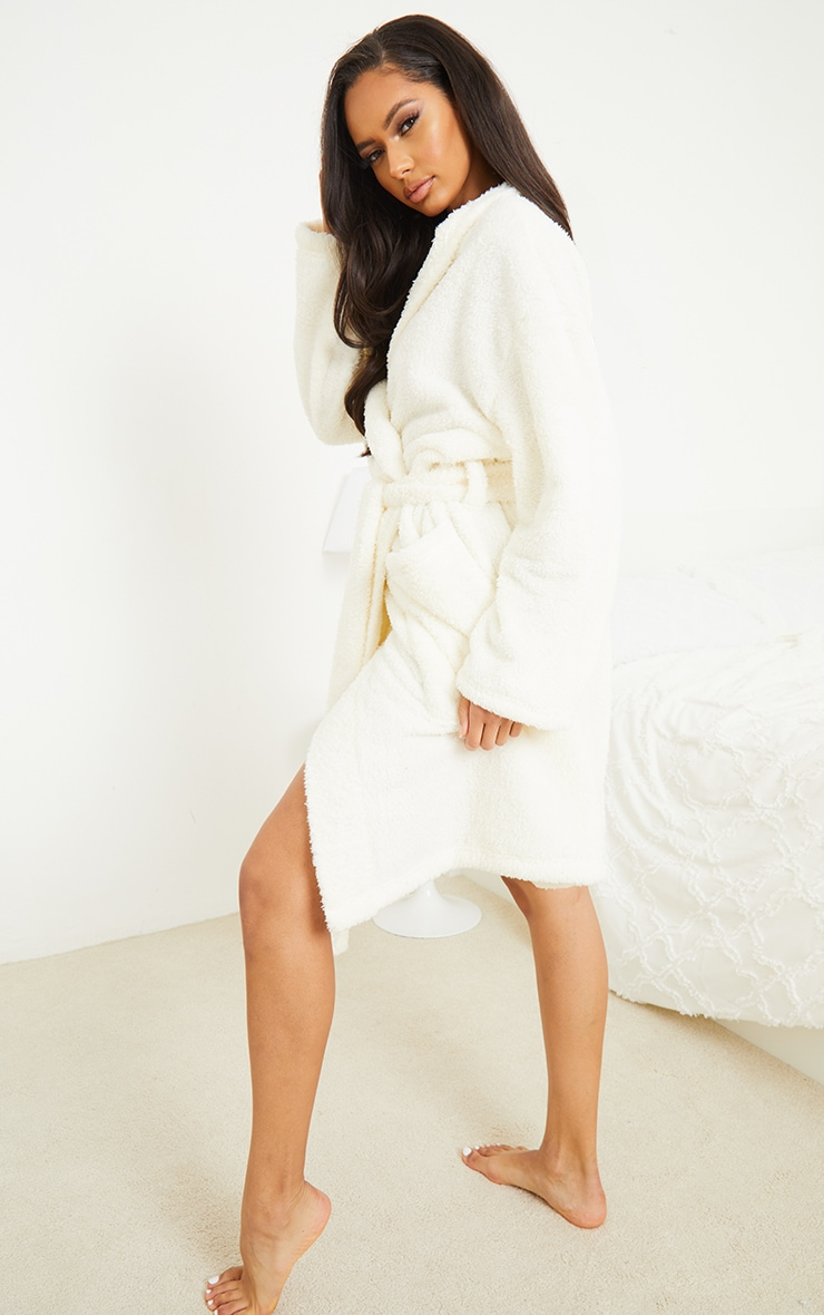 White Oversized Fluffy Dressing Gown 2