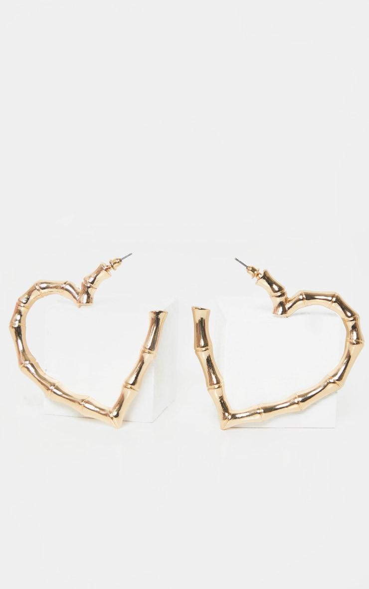 Gold Bamboo Heart Hoop Earrings 2