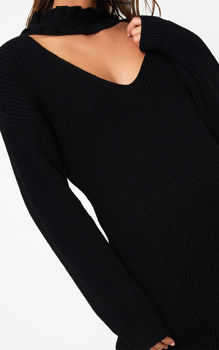 Robe mini ras du cou noire tricotée à volants 4