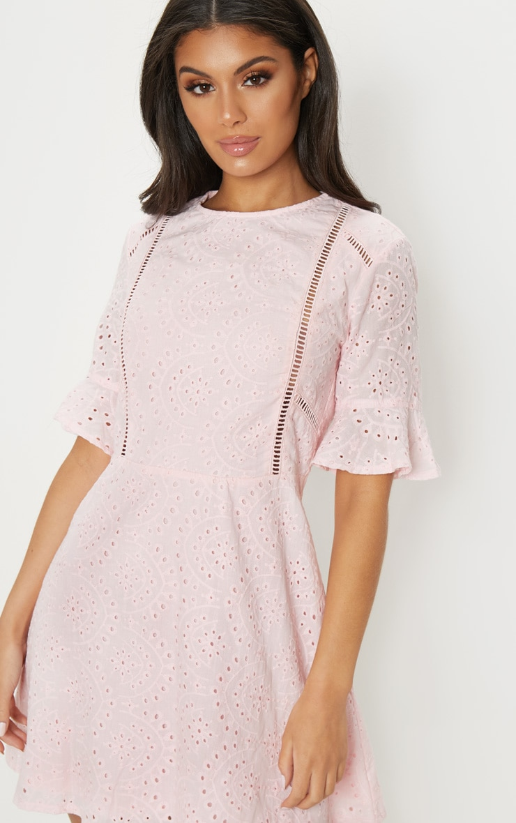 Pink Broderie Anglaise Frill Sleeve Skater Dress 5