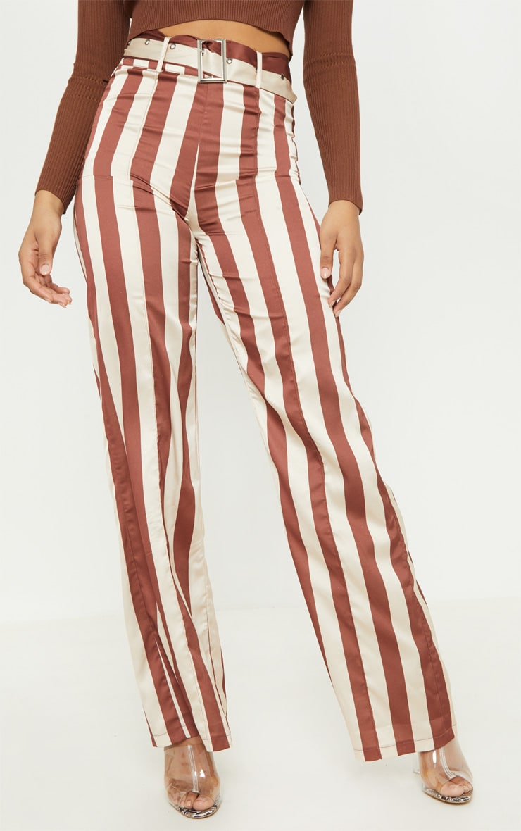 Tall Chocolate Brown Belt Detail Wide Leg Pants 2