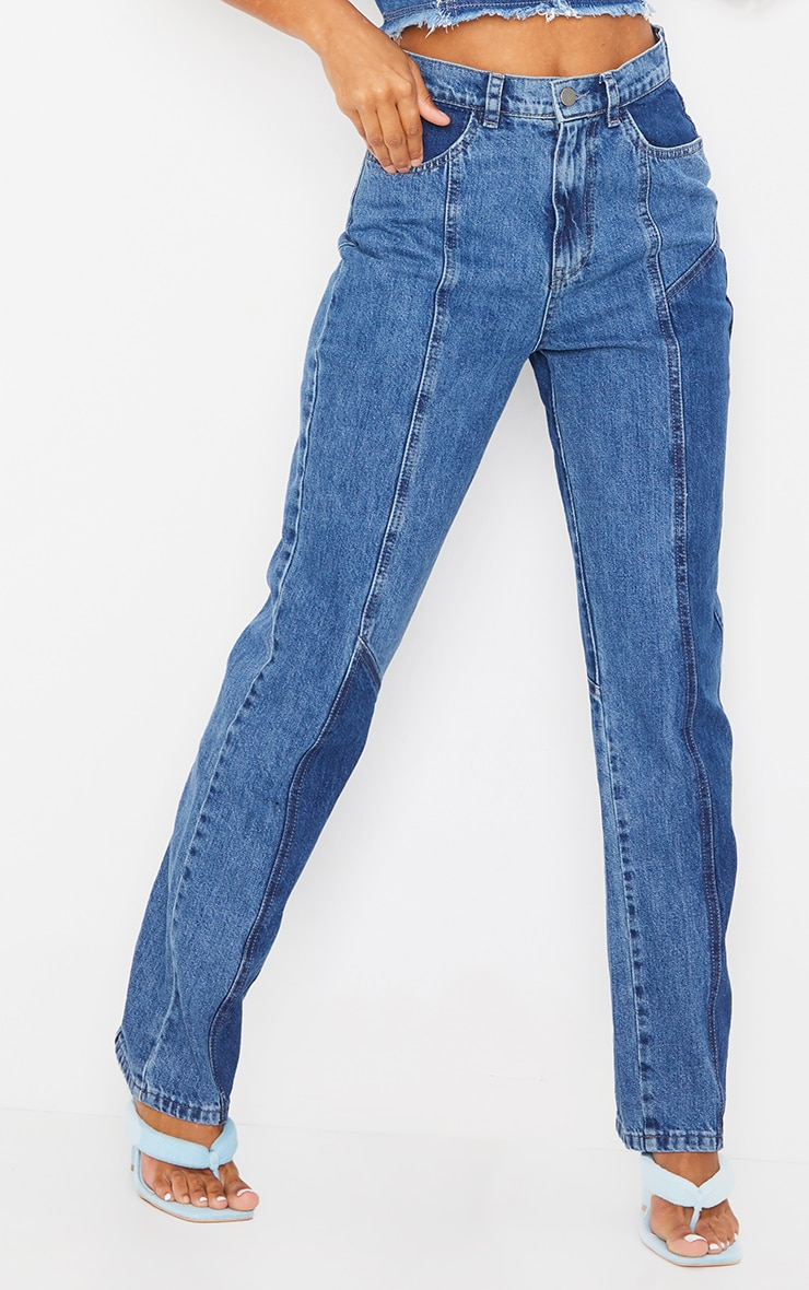Mid Blue Wash Frayed Patchwork Contrast Denim Mom Jeans 2