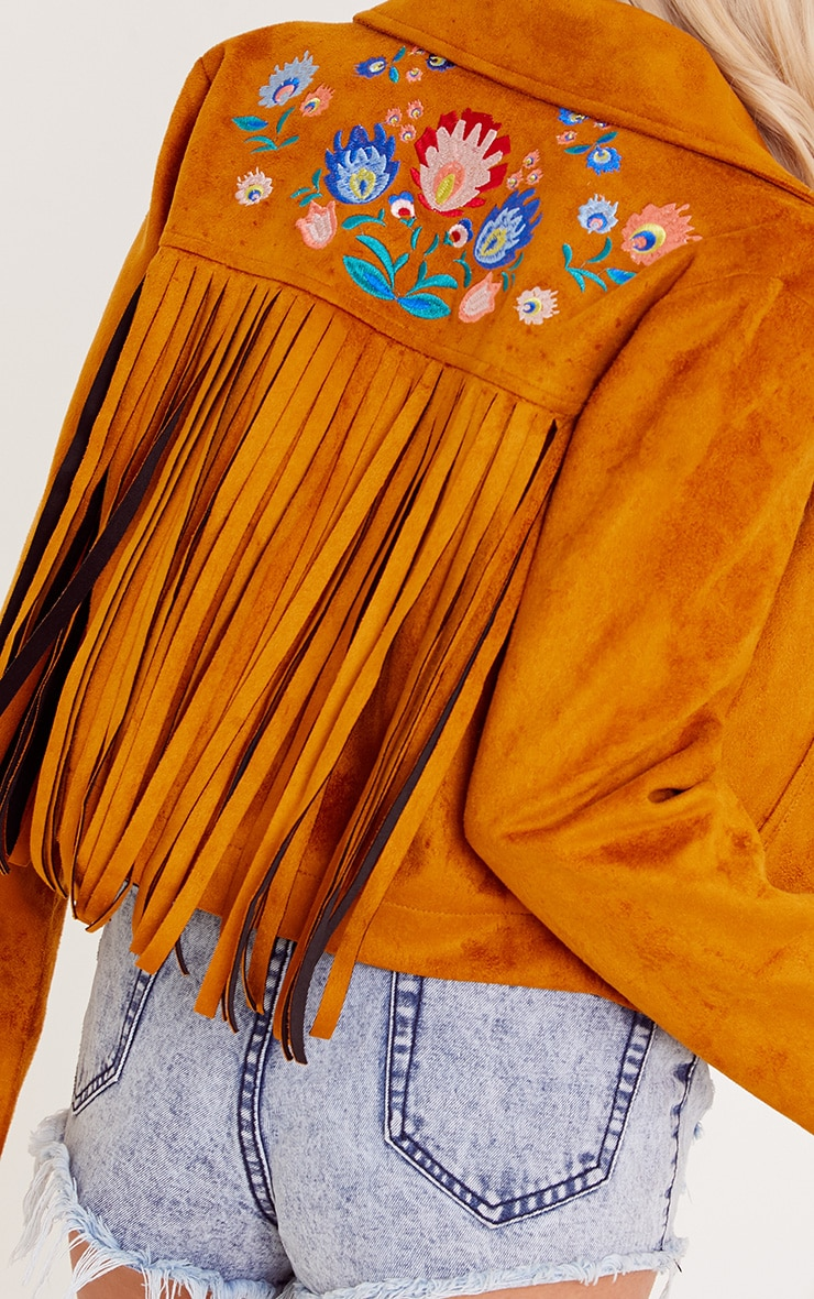 Shilla Tan Faux Suede Embroidered Detail Biker 6