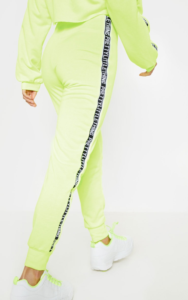PRETTYLITTLETHING Petite Neon Lime Joggers 3