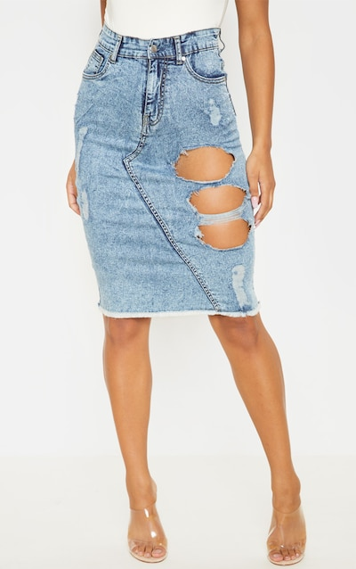 Bleach Distressed Denim Midi Skirt