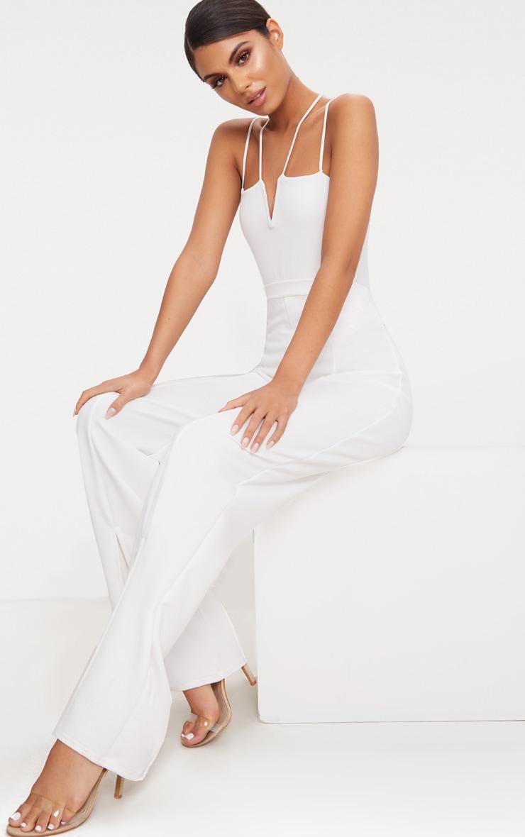 White Strappy V Bar Thong Bodysuit  5