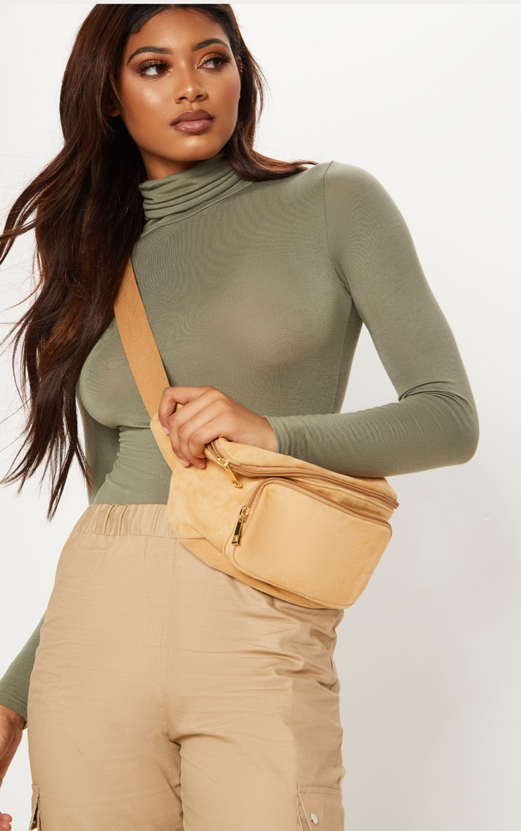 Tall Khaki Roll Neck Bodysuit 1