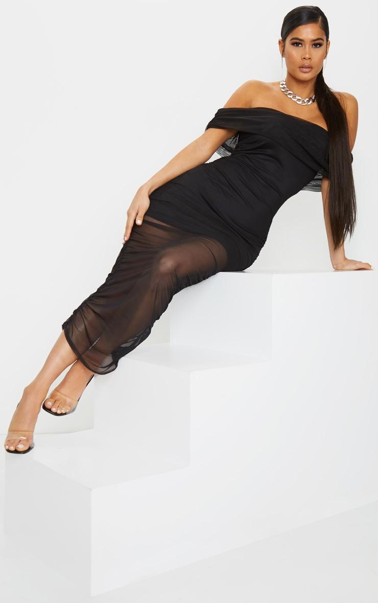 Black Mesh Ruched Bardot Midaxi 1