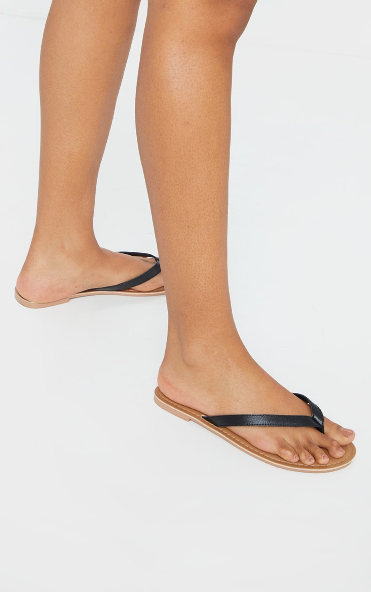 Black Real Leather Contrast Sole Toe Thong Sandals 2