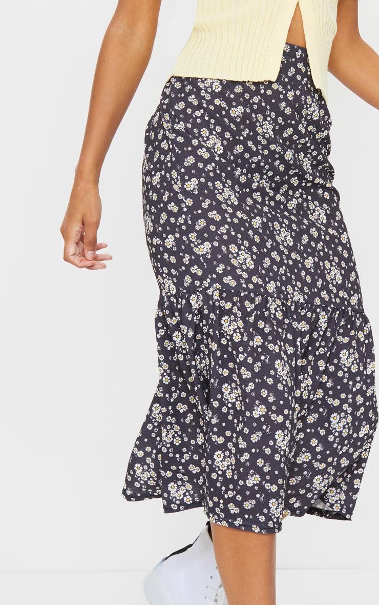 Black Floral Printed Frill Hem Midi Skirt 4