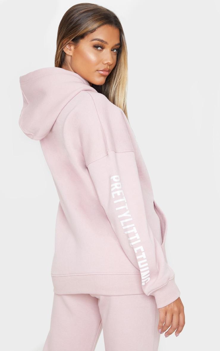 PRETTYLITTLETHING Pale Pink Slogan Hoodie 2
