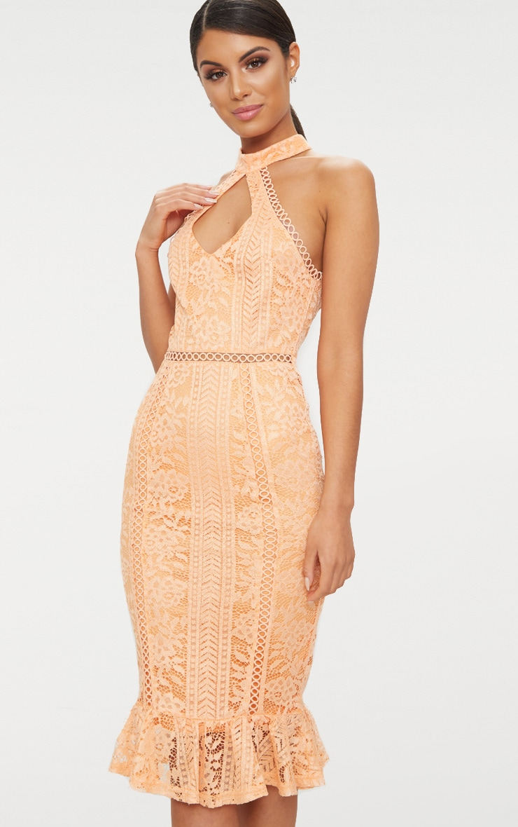 Tangerine Lace Cut Out Frill Detail Midi Dress  1