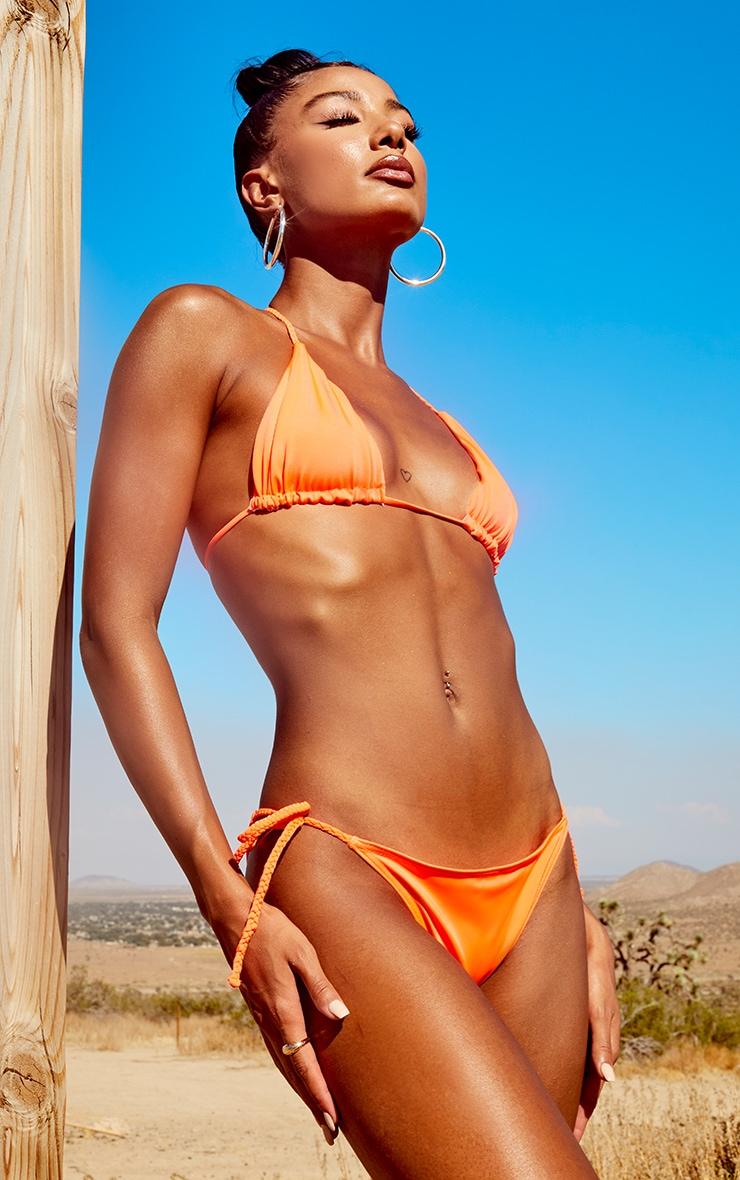 Orange Recycled Plait Tie Side Bikini Bottom 2