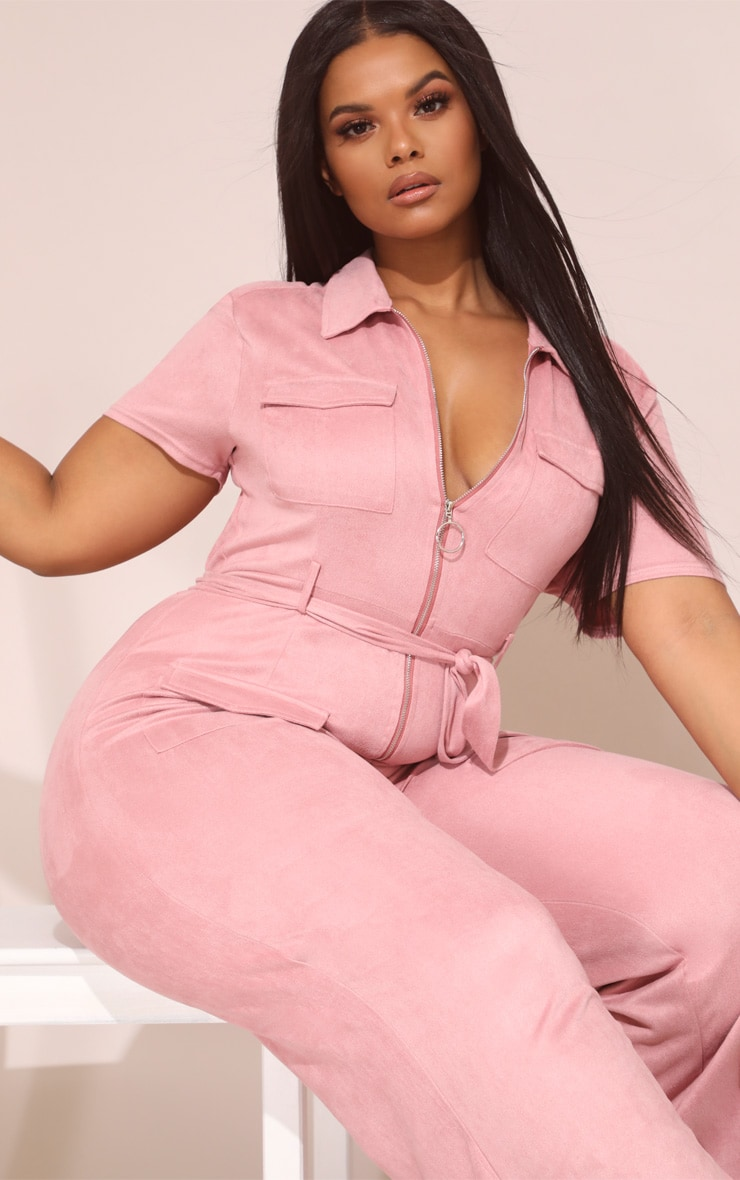 Plus Rose Pink Faux Suede Zip Detail Jumpsuit 5