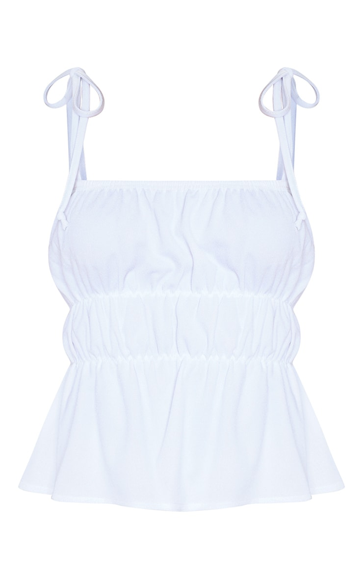 White Crepe Ruched Strappy Crop Top 5