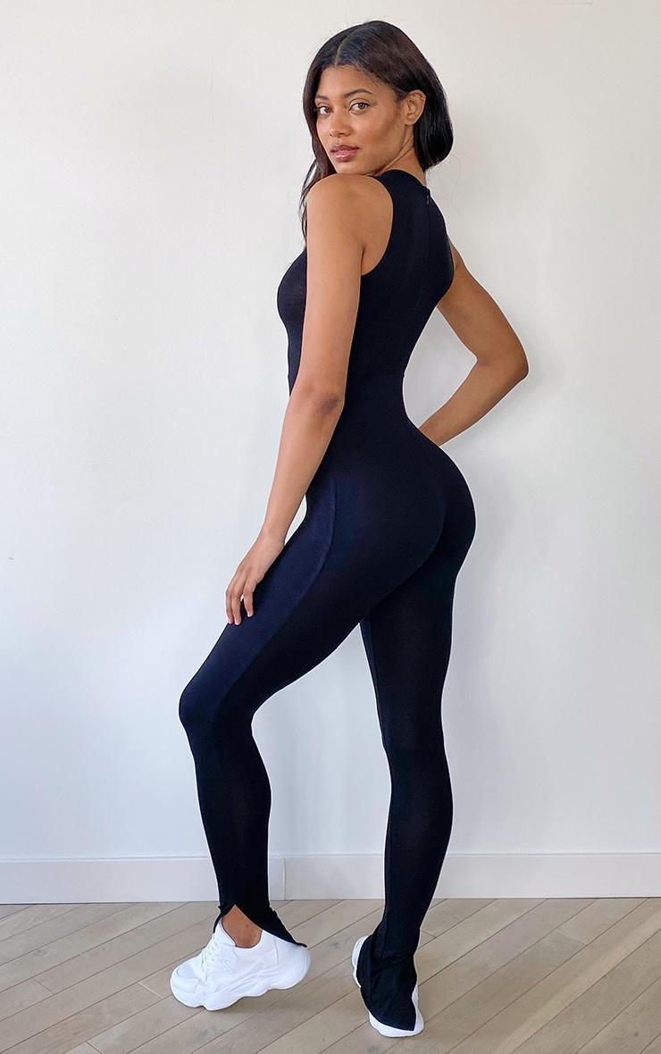 Tall Black Sleeveless Jersey Split Hem Jumpsuit 2