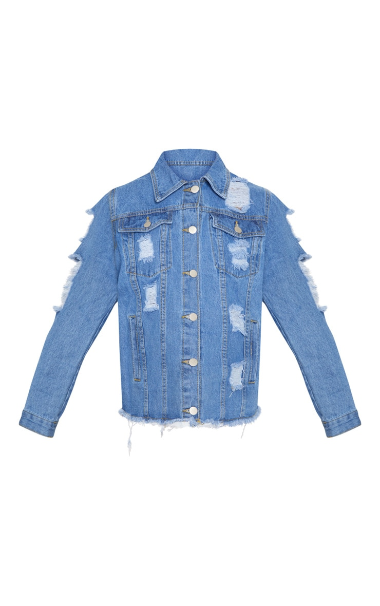 Abegaila Mid Wash Distress Oversized Denim Jacket 3