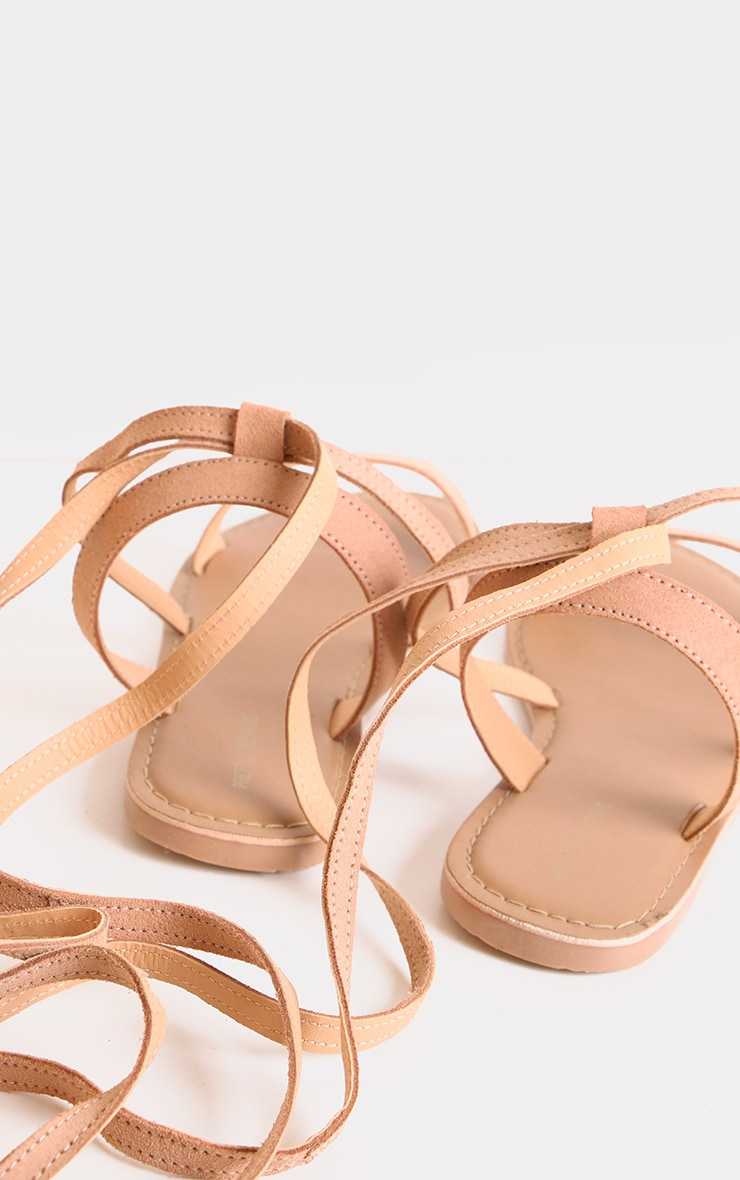 Nude Wide Fit Leather Strappy Basic Sandals 3