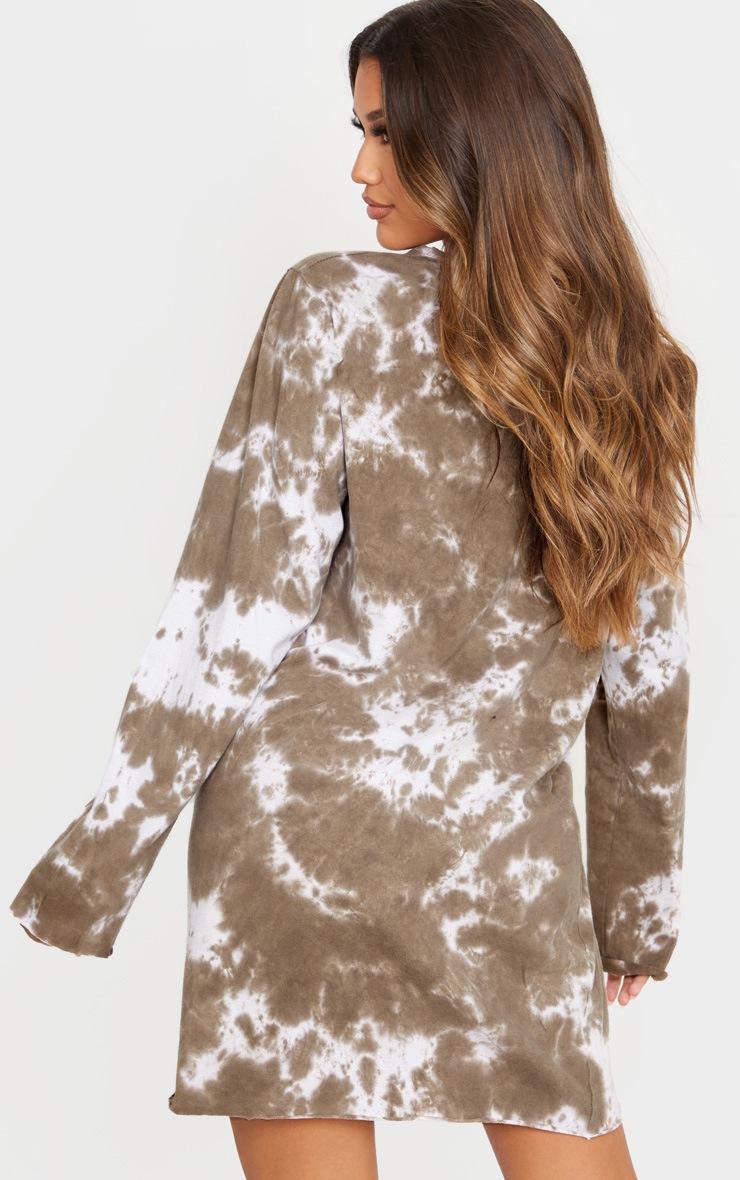 Taupe Begin Again Slogan Acid Wash T Shirt Long Sleeve Dress 2
