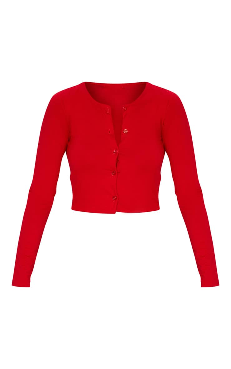 Red Button Front Long Sleeve Crop Top 3