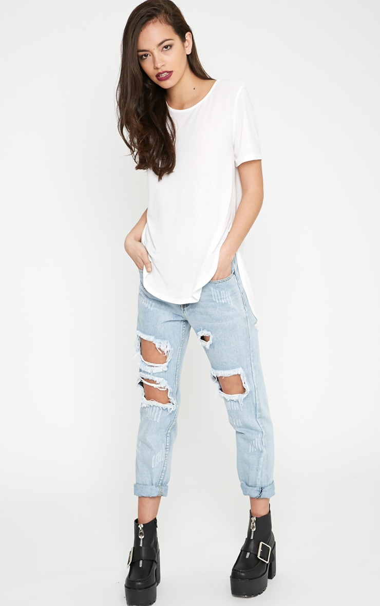 Dora White Dipped Hem Top 3