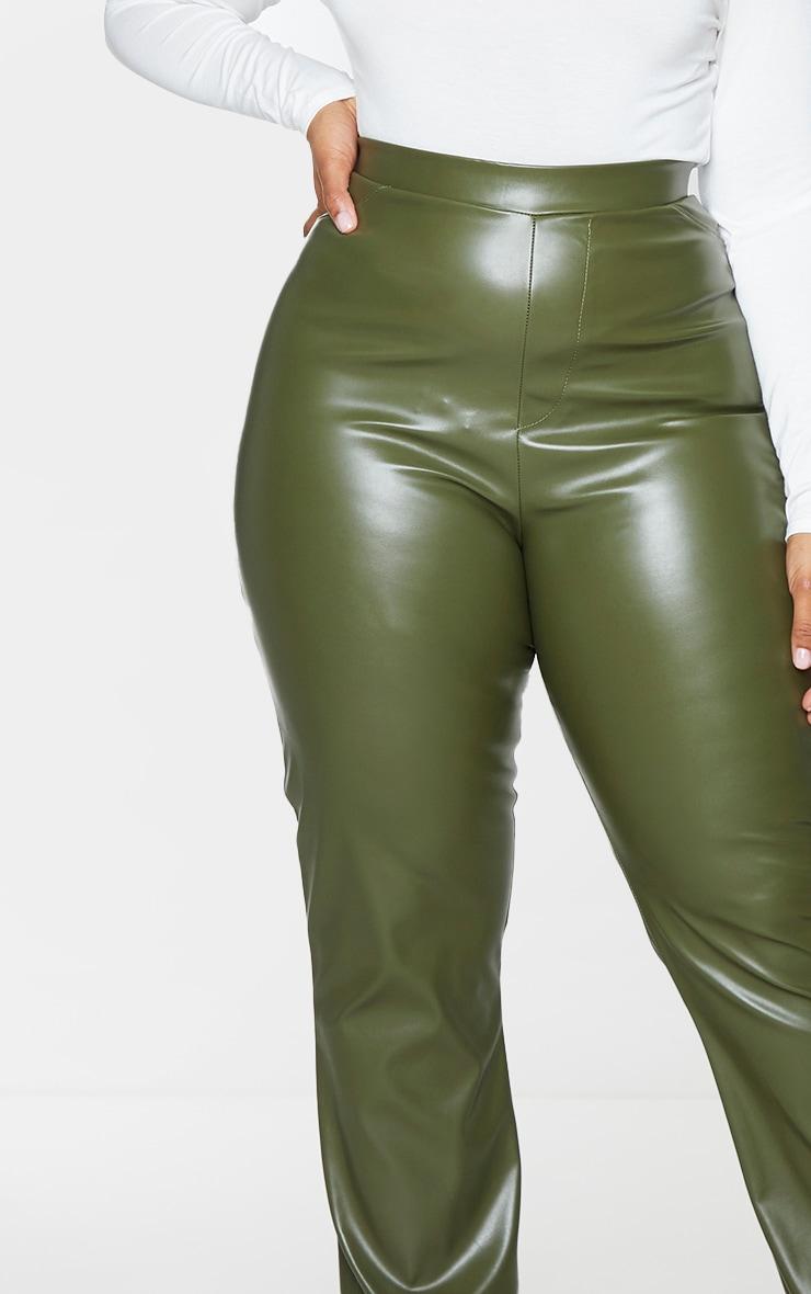 Plus Khaki PU Flared Pants 4