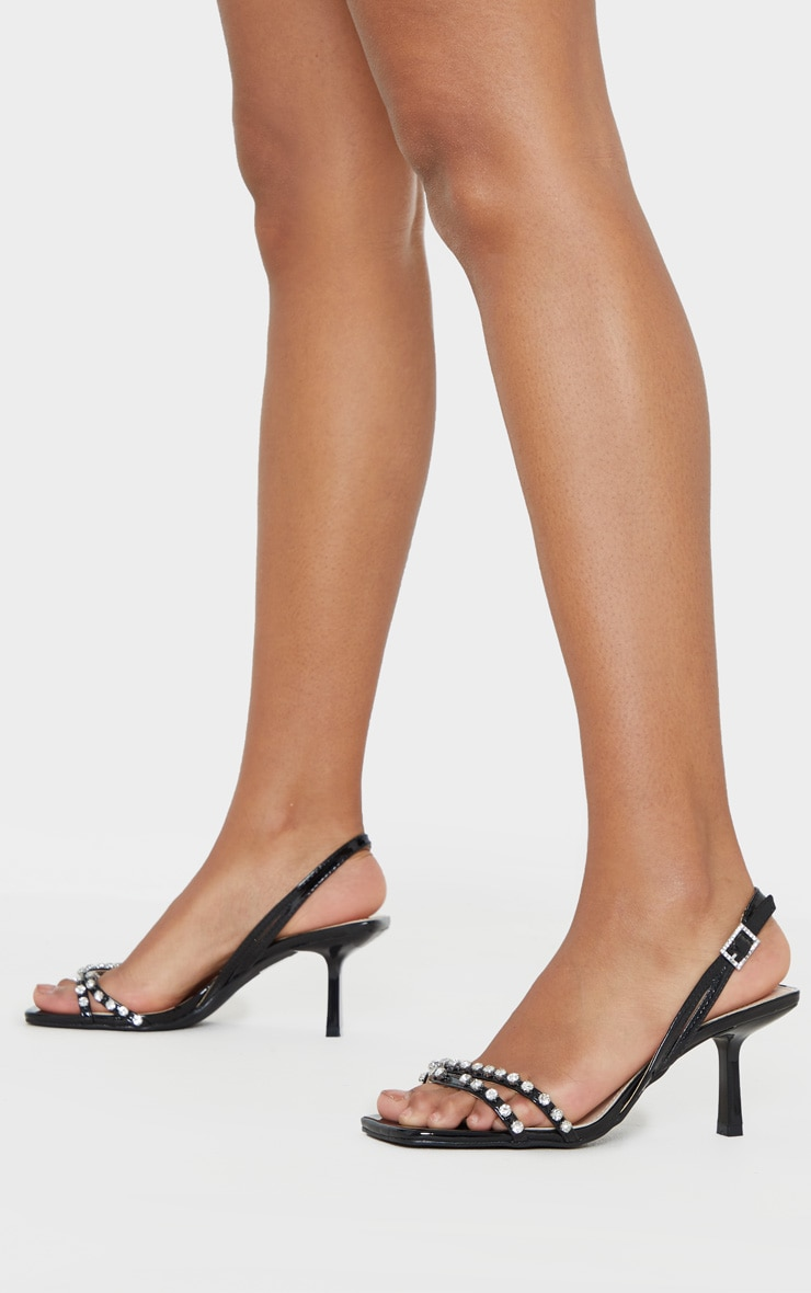Black Low Heel Square Toe Diamante Strap Sandal 1