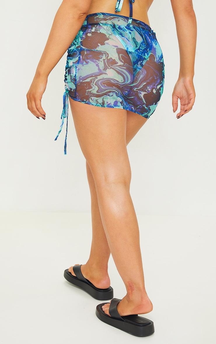 Blue Print Mesh Ruched Side Beach Skirt 3