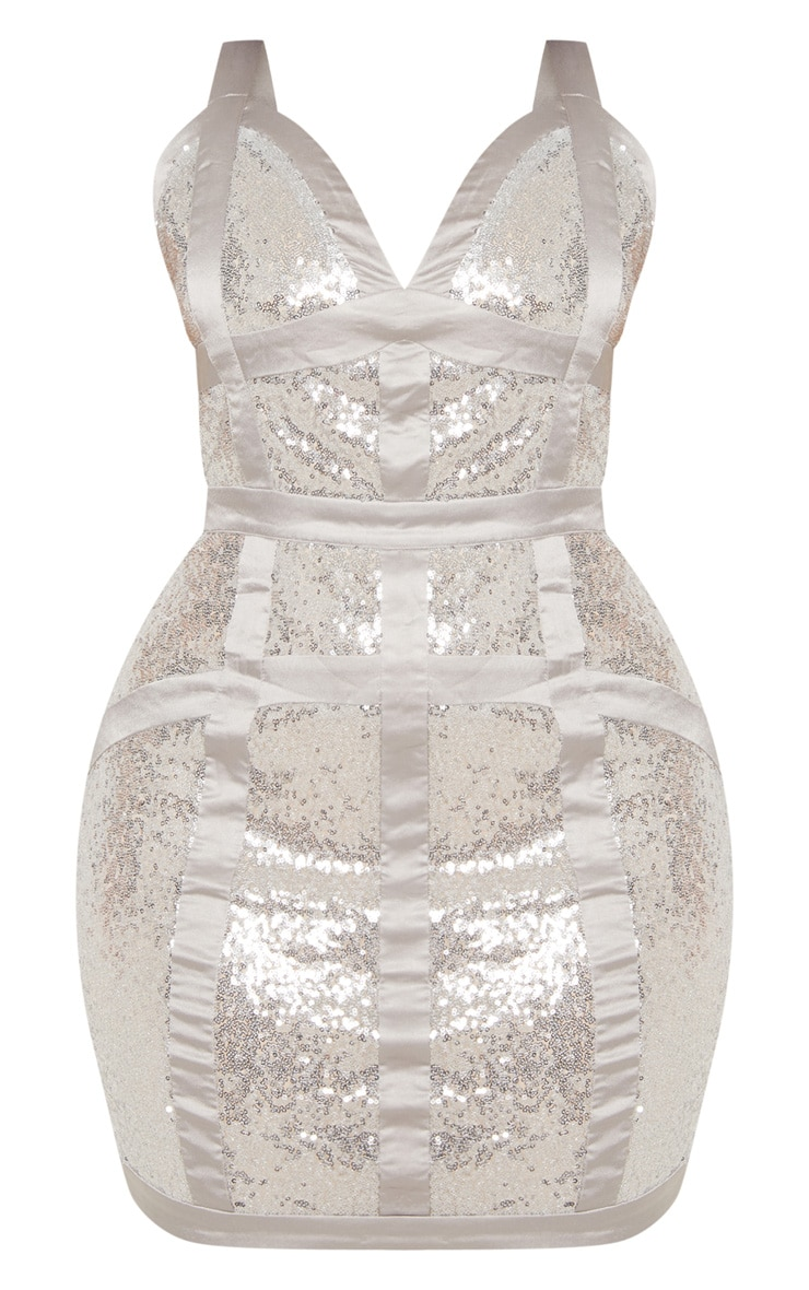 Plus Silver Sequin Panel Satin Trim Bodycon Dress 3
