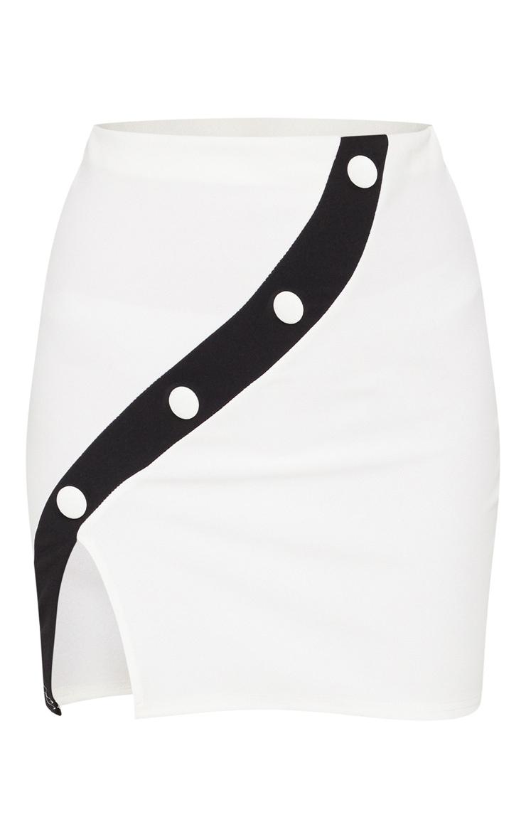 White Contrast Panel Button Mini Skirt 3