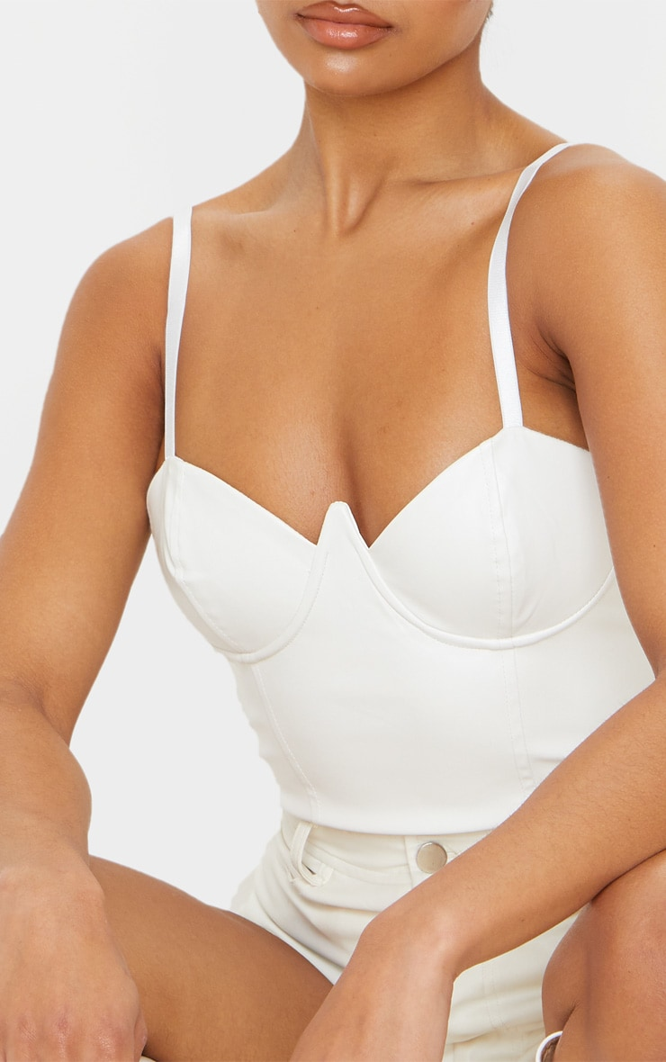 White Faux Leather V Wire Bodysuit 6