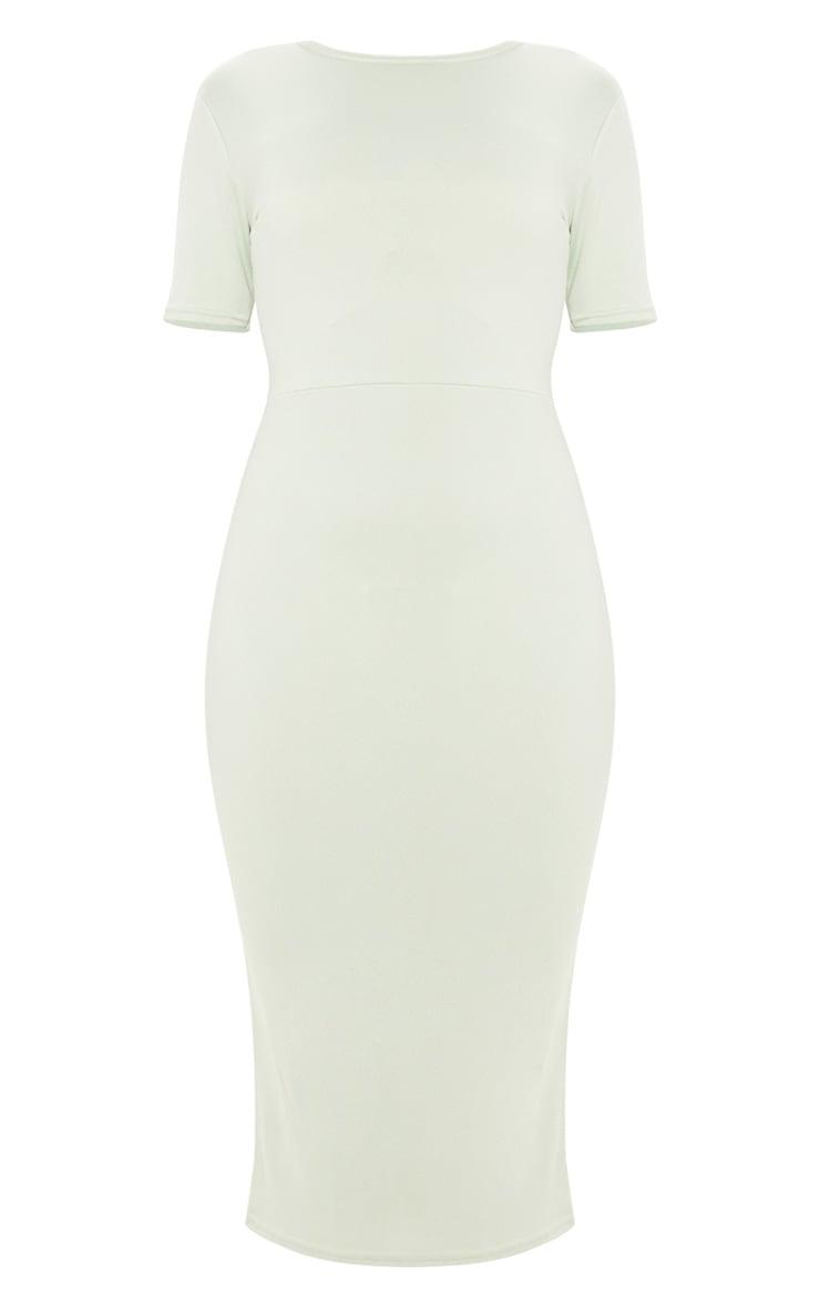 Sage Khaki Tie Back Short Sleeve Midi Dress 3
